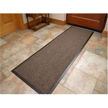 Machine Washable Beige Brown Non Slip Hard Wearing Barrier Mat (60 x 180cm)