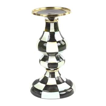 MacKenzie-Childs - Courtly Check Enamel Pillar Candlestick - Medium (H22.8 x W13.3 x D13.3cm)