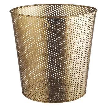 Habitat Macula Gold Mesh Wastepaper Bin (H30 x W30 x D30cm)