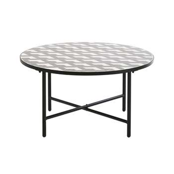 MADAGASCAR Round White and Grey Ceramic Garden Coffee Table, Black (H43 x W80 x D80cm)