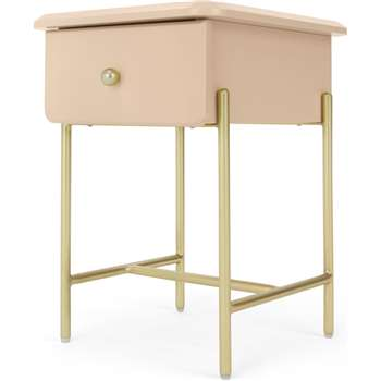Maddie Bedside Table, Pink & Brass (H50 x W35 x D40cm)