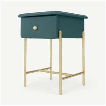Maddie Bedside Table, Teal & Brass (H50 x W35 x D40cm)