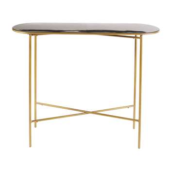 Maddie - Black and Gold Metal Console Table (H76 x W100 x D30cm)