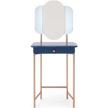 Maddie Dressing Table, Dark Blue and Copper (H134 x W57 x D42cm)