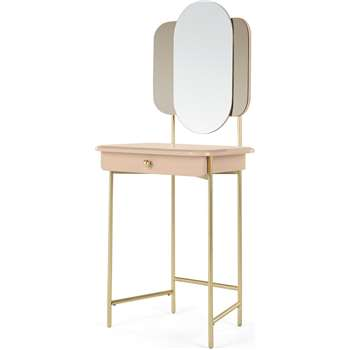 Maddie Dressing Table, Pink & Brass (H134 x W57 x D42cm)