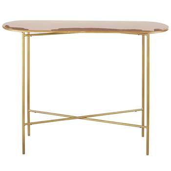 Maddie - Powder Pink and Gold Metal Console Table (H76 x W100 x D30cm)