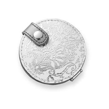 Maddox Silver Floral Handbag Mirror (Diameter 7cm)