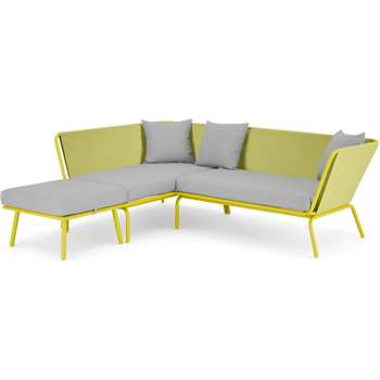 MADE Essential Tice Garden Corner Sofa, Chartruse and Grey (H76 x W134 x D80cm)