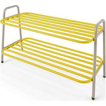MADE Essentials Alana Shoe Rack, Chartreuse and Grey (H40 x W71 x D32cm)