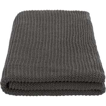 MADE Essentials Alfa Cotton Knit Throw, Charcoal (130 x 170cm)
