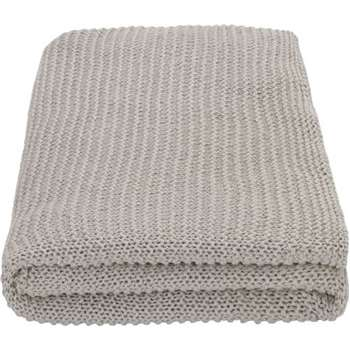 MADE Essentials Alfa Cotton Knit Throw, Light Grey (H130 x W170cm)