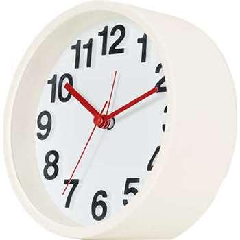 MADE Essentials Anke Soft Touch Alarm Clock, White (H13 x W13 x D5cm)