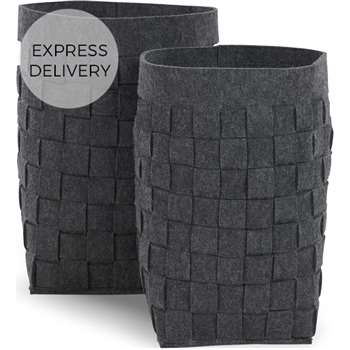 MADE Essentials Bask Set of 2 Felt Woven Laundry Basket, Charcoal (H43 x W30 x D30cm)