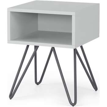 Made Essentials Beru Open Bedside Table, Light Grey & Charcoal Legs (H46 x W35 x D35cm)