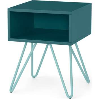 Made Essentials Beru Open Bedside Table, Teal & Light Blue Legs (H46 x W35 x D35cm)