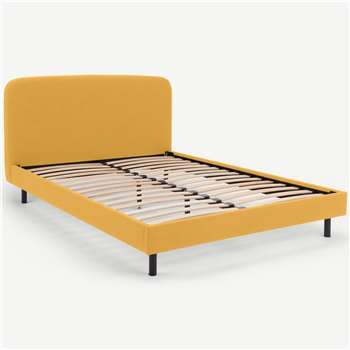MADE Essentials Besley King Size Bed, Yolk Yellow (H96 x W161 x D219cm)