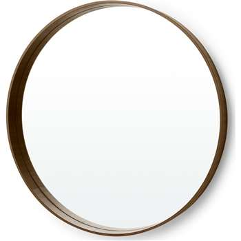 MADE Essentials Bex Large Round Mirror, Walnut (Diameter 76cm)