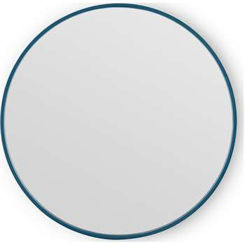 MADE Essentials Bex Round Lacquered Mirror 55cm, Teal Blue (H55 x W55 x D3cm)