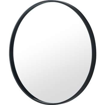 MADE Essentials Bex Round Lacquered Mirror, Black (H55 x W55 x D3cm)