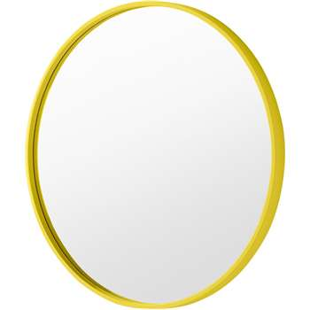 MADE Essentials Bex Round Lacquered Mirror, Chartreuse (H55 x W55 x D3cm)