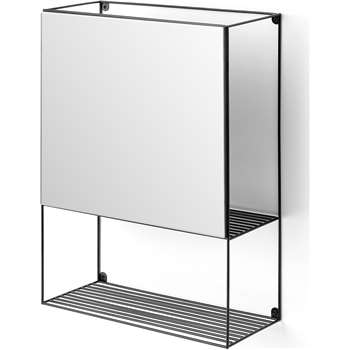 MADE Essentials Calypso Shelving Unit with Mirror, Black (H61 x W45 x D20cm)
