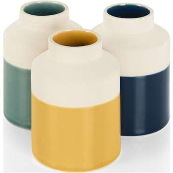 Made Essentials Dorran Set of Three Vases, Multi (H11 x W8 x D8cm)