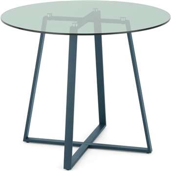 MADE Essentials Haku 2 Seat Round Dining Table, Teal and Green Glass (H75 x W90 x D90cm)