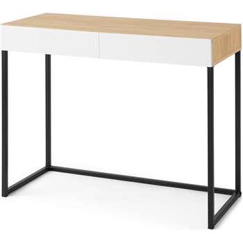 MADE Essentials Hopkins Compact Desk , Oak Effect & White (H75 x W90 x D42cm)