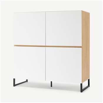 MADE Essentials Hopkins Highboard, Oak Effect & White (H107 x W100 x D42cm)