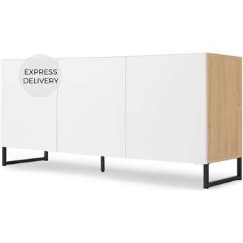 MADE Essentials Hopkins Large Sideboard, Oak Effect & White (H69 x W140 x D42cm)