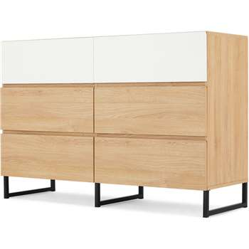 MADE Essentials Hopkins Wide Chest Of Drawers, Oak Effect & White (H81 x W120 x D42cm)