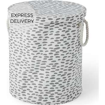 MADE Essentials Jada 100% Cotton Round Printed Laundry Basket, Multi (H50 x W45 x D45cm)