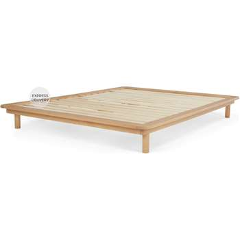 MADE Essentials Kano Double Platform Bed, Pine (H25 x W155 x D210cm)