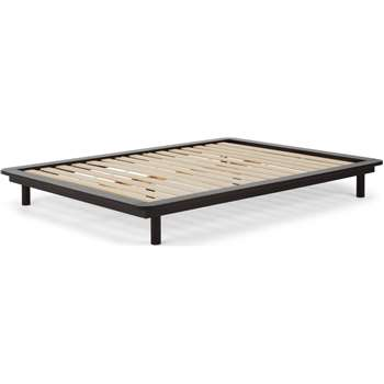 MADE Essentials Kano platform Kingsize Bed, Black Stain Pine (H25 x W170 x D220cm)