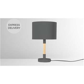 MADE Essentials Kyle Table Lamp, Charcoal Grey (H37 x W23 x D23cm)