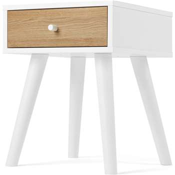 MADE Essentials Larsen Bedside Table, Oak Effect and White (H57 x W45 x D45cm)