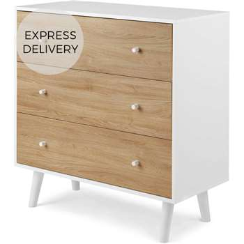 MADE Essentials Larsen Chest Of Drawers, Oak Effect and White (H106 x W100 x D45cm)