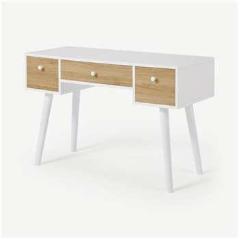 MADE Essentials Larsen Desk, Oak Effect & White (H79 x W121 x D50cm)
