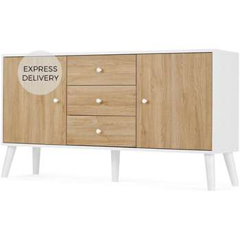 MADE Essentials Larsen Large Sideboard, Oak Effect & White (H81 x W150 x D40cm)