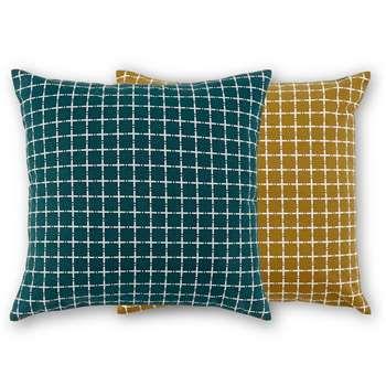 Made Essentials Manilla Set of 2 Cushions 45x45cm, Mustard/Teal (H45 x W45cm)