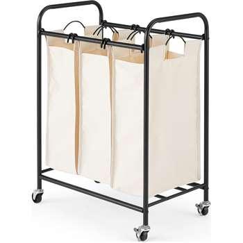 MADE Essentials Moss 3 Section Laundry Cart, Black (H84 x W62 x D39cm)