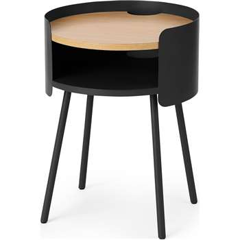 MADE Essentials Ooty Bedside Table, Black (H53 x W40 x D40cm)