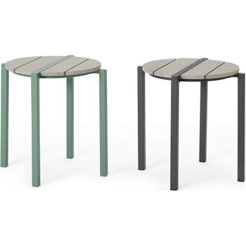 MADE Essentials Pino Stack and Store Set of 2 Stools, Green & Grey (H45 x W38 x D38cm)