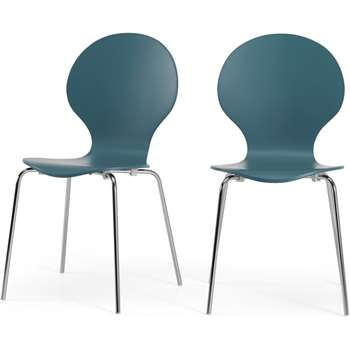 MADE Essentials Set of 2 Kitsch Dining Chairs, Teal and Chrome (H87 x W47 x D54cm)