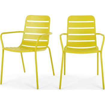 MADE Essentials Set of 2 Tice Dining Chair, Chartreuse (H82 x W56 x D63cm)
