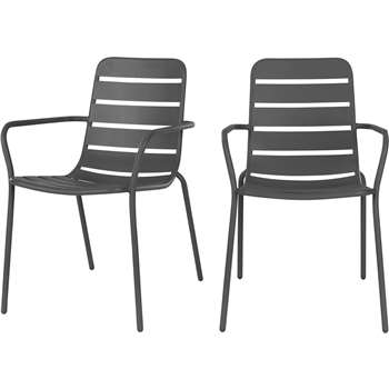 Made Essentials Set of 2 Tice Dining Chair, Grey (88.5 x 56cm)
