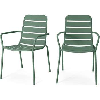 MADE Essentials Set of 2 Tice Garden Dining Chair, Green (H82 x W56 x D63cm)