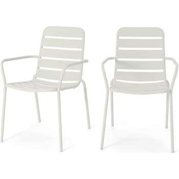 MADE Essentials Set of 2 Tice Garden Dining Chair, Off White (H82 x W56 x D63cm)