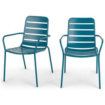 MADE Essentials Set of 2 Tice Garden Dining Chair, Teal (H82 x W56 x D63cm)