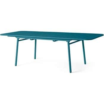 MADE Essentials Tice Garden 8 - 10 extending Dining Table, Teal (H76 x W180-240 x D100cm)